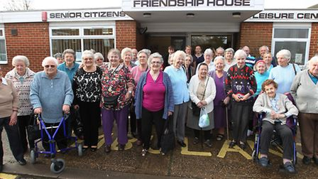 Staff and centre users outside Friendship House in Hatfield who are unhappy that it is closing down