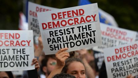 Protesters in Westminster fighting against Boris Johnson's plan to prorogue parliament to force through Brexit.