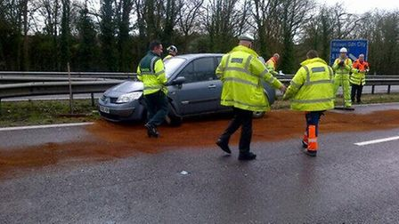 The central reservation was damaged near Junction 6 of the A1(M) motorway.