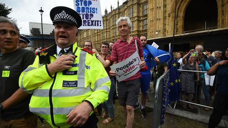Protesters in Westminster fighting against Boris Johnson's plan to prorogue parliament to force thro