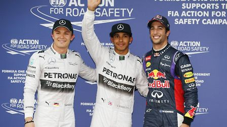 Lewis Hamilton after claiming pole position for the 2014 Australian Grand Prix with Mercedes colleag