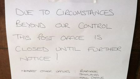 The notice on the door of the Post Office, in Howardsgate, WGC