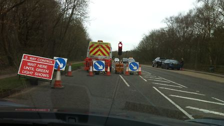 Gas roadworks at Digswell Hill, Ayot Green