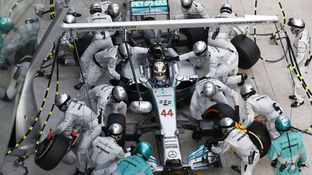 Mercedes driver Lewis Hamilton in the pits during the 2014 Malaysian Grand Prix [Picture: Mercedes-B