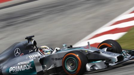 Lewis Hamilton on track in Sepang ahead of the 2014 Malaysian Grand Prix [Picture: Mercedes-Benz]