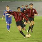 Cain Davey, pictured scoring for London Colney last night (Pictures by JAMES WHITTAMORE)