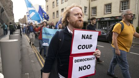 Protesters in Edinburgh fighting against Boris Johnson's plan to prorogue parliament to force throug