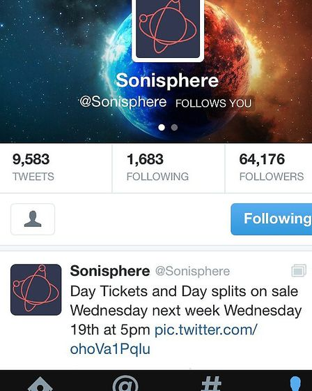 Sonisphere's tweet on Twitter about when day tickets will go on sale for Knebworth