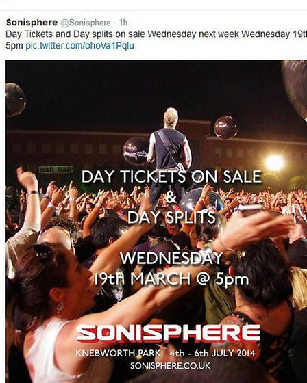 Day tickets for the Sonisphere 2014 rock and metal festival at Knebworth will go on sale on March 19
