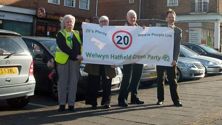 Green Party candidate for the European Parliament Rupert Reid (far right) with Green Party members