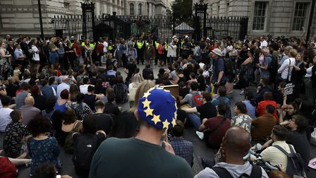 Protesters in Downing Street fighting against Boris Johnson's plan to prorogue parliament to force t