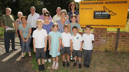 Some of the Panshanger People committee and concerned local residents outside Panshanger Aerodrome