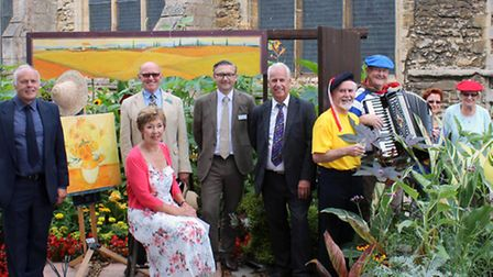 From left: Brian Massingham and Penny Stocks of Wisbech in Bloom, judges Darren Share and Jon Wheatl