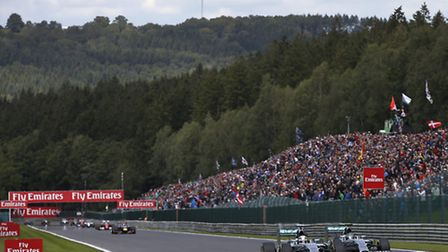 Lewis Hamilton and Nico Rosberg racing each other in the 2014 Belgian Grand Prix at Spa [Picture: Me