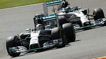 Lewis Hamilton leads Mercedes teammate Nico Rosberg in the 2014 Belgian Grand Prix at Spa [Picture: