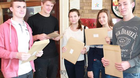 Students from Onslow St Audrey's School after picking up their A-Level results