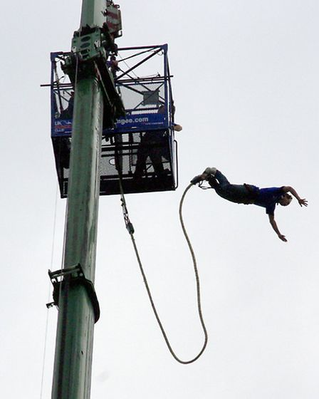 MP Grant Shapps jumps from the 160ft crane