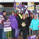 Unison members on a previous strike outside The University of Hertfordshire