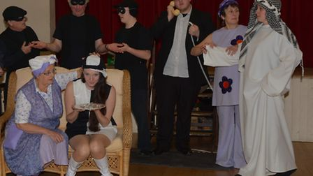 The cast of KATS' production of Noises Off. Back row (left to right): Graham Dormer, Chris Simson, I