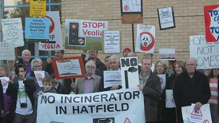 New Barnfield incinerator protest outside the Fielder Centre before the public meeting