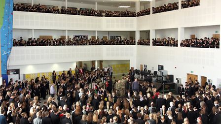 Students observe the two minutes silence during their assembly.