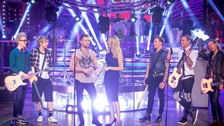 Tess Daly and McBusted [Picture: BBC/Guy Levy]