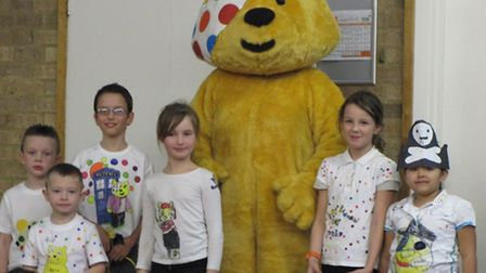 Pudsey bear with chidlren at Orchards Primary School
