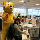 Pudsey, mascot for BBC Children In Need, was at Hatfield's Affinity Water call centre during a previ