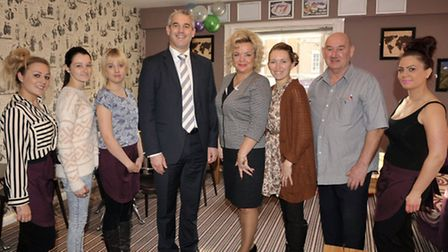 Staff at Loafers with MP Steve Barclay.