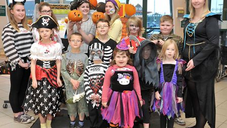Sue Ryder Halloween charity event at Morrisons, Wisbech. Staff and their relations who helped with b