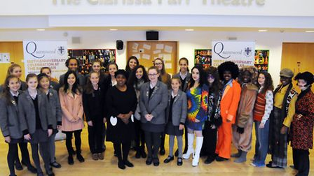 West End star Melanie Marshall with a small selection of the music and drama girls who will be perfo