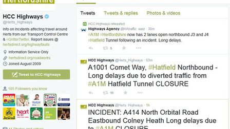 Herts Highways tweets about the A1(M) delays