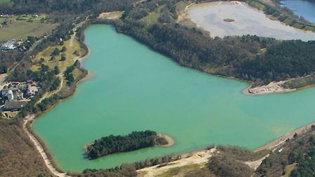 Aerial shot of Bawsey Pits