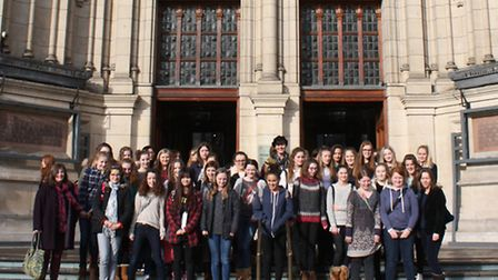 Pupils outside the Victoria and Albert Museum.