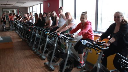 College of West Anglia students get pedalling during the Billy Lee fundraiser.