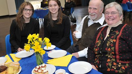 Annual Spring Fling at Wisbech Grammar School. Students Emily Wood and Emily Davis with Terry and Ro