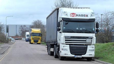 Lorry drivers park up for overnight stops on the side of road on some of the town's industrial estat