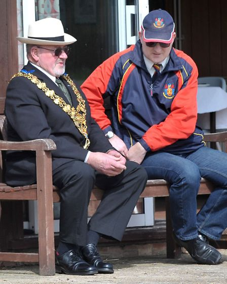 Mayor of Wisbech Michael Hill and Chairman of Wisbech cricket club Bob Burgess.Picture: Steve Willia