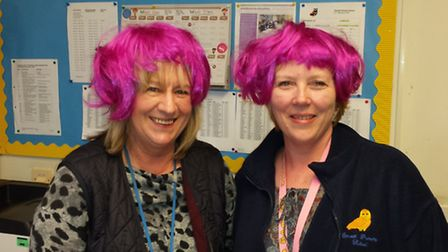 Secretarial assistant Sue Green and teaching assistant Jackie Brenchley, of Emneth Primary School, t