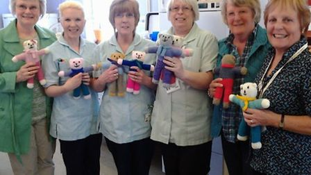 St Augustine's Knit and Natter group donated teddies to North Cambs Hospital.