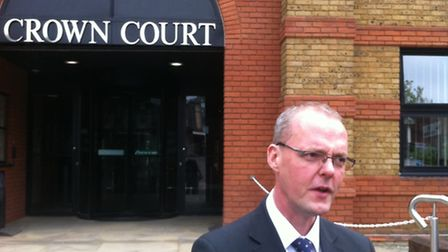 Detective Chief Inspector Jerome Kent speaks outside St Albans Crown Court, after murderer Carl Whea