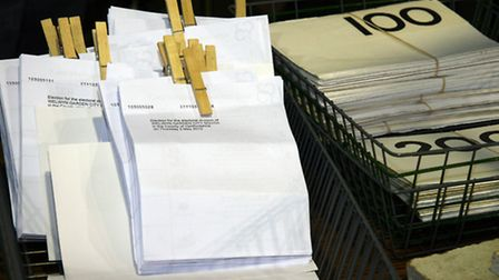 Ballot papers ready to be counted