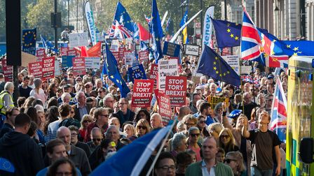 The next People's Vote march will take place in October in London . Photograph: Wiktor Szymanowicz /
