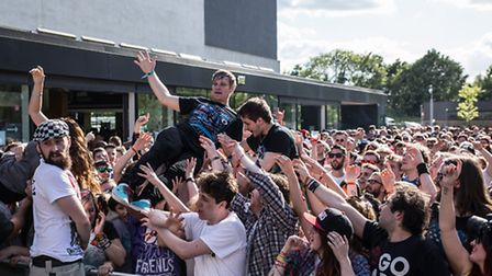 The crowd by the Uprawr DJ Stage outside The Forum Hertfordshire in Hatfield during Slam Dunk South