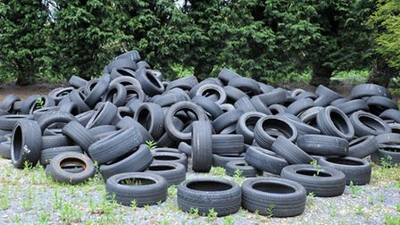Dumped tyres from 6 months ago still not moved ,Green Lane, Walsoken