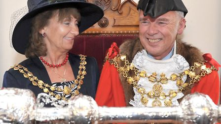 Mayor Making Wisbech Town hall. Left:Mayoress Judy Hodgson, Mayor David Hodgson. Picture: Steve Will