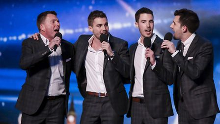 The Neales singing in an earlier round of Britain's Got Talent. The father and sons have made it thr
