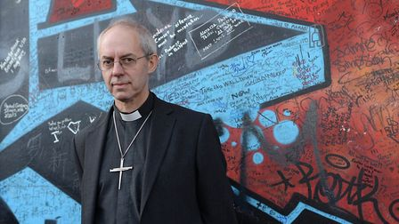 The Archbishop of Canterbury, Justin Welby during his visit to Belfast, stops at the Peace Wall. (Ph