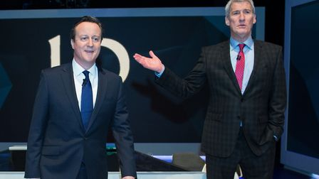 David Cameron is interview by Jeremy Paxman (right). Photograph: Stefan Rousseau/PA.