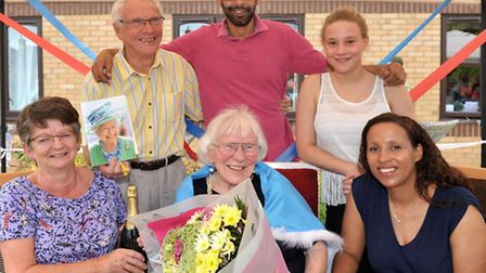 Rose Lodge care home, Walton Road, Wisbech. Edna Cooper with her family celebrating her 100th birthd